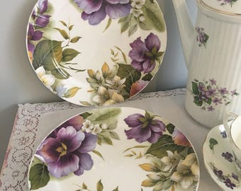 Rich purple royal stafford /set of two stafford luncheon plates/ chintz luncheon plates/ afternoon tea plates