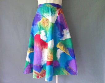 Vintage abstract colorful midi maxi skirt size S/M/L