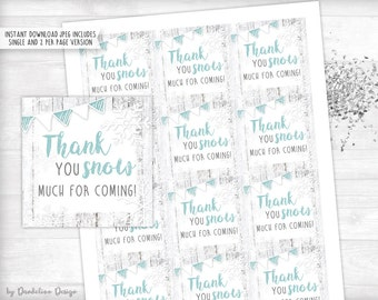 Teal Snowflake Thank you Tag Printable Instant Download