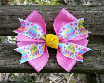 Pink Easter Egg Hair Bow (4 inch)