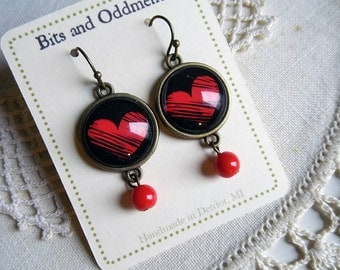 Red Scribble Heart Earrings