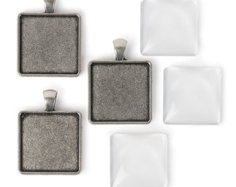 25mm Square Pendants - Antiqued Imitation Silver (IP057)