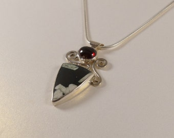Rhodolite Garnet Pendant, Chinese Writing Stone Pendant, Sterling Silver Necklace
