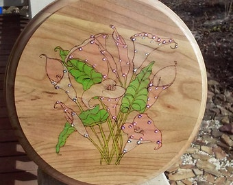 Pyrography wood burned plaque with pink calla lilies with color plus crystals and rhinestones