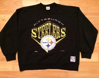 XL 1994 Pittsburgh Steelers Team NFL vintage men's sweat shirt black yellow gold 90's 1990's football Pennsylvania