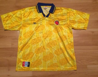 XL 90's Colombia National Team men's vintage soccer jersey Olympus yellow blue futbol ball 1990's