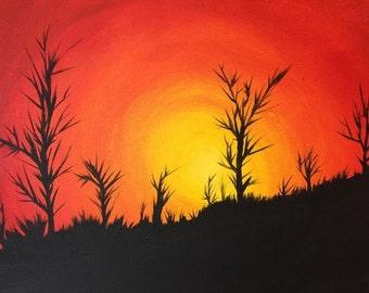 Sunset over the desert
