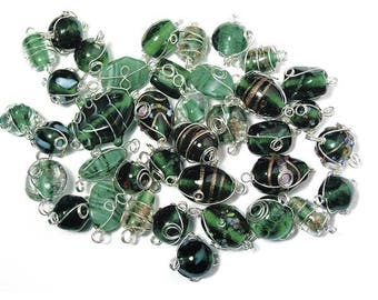 Emerald glass beads with silver wire, from 12 to 25 mm RAY-3314100429