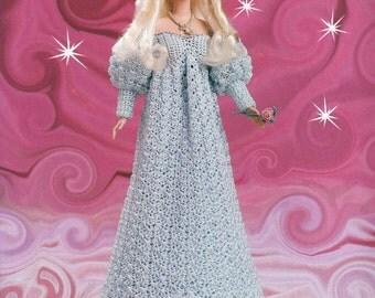 71. Barbie fashion doll dress crochet pattern in pdf, Princess Barbie dress crochet pattern in pdf