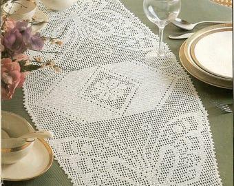 314. Vintage filet crochet runner UK pattern in pdf