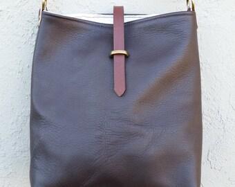 Repurposed Brown Chap Leather Shoulder Bucket Bag with Vintage European Linen Lining and Adjustable Bridle Leather Shoulder Strap
