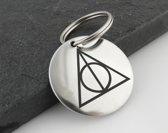 Deathly Hallows Key Chain - Engrave Custom Message on BackStainless Steel - Elder Wand Invisibility Cloak Resurrection Stone - Harry Potter