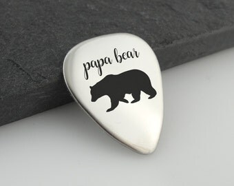 Papa Bear Guitar Pick - Metal - Father's Gift Musician Music