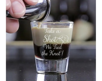 6 pcs - Take a Shot We Tied the Knot - Engraved Shot Glasses - DG11-SGH5057