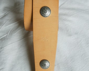 """Handmade leather guitar strap made in France Urban Cam """" The 609 natural"""""""