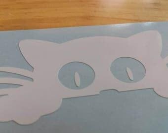 PEEPING CAT Peeking Kitten Vinyl Decal . Free Shipping Yeti Window Car Laptop Wine Glass Coffee Beer Mug Frame Sports Bottle Sticker Tumbler
