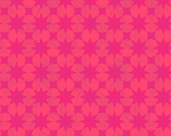 Seventy-Six by Alison Glass Flourish in Pomegranate A-8446-R cotton fabric andover modern material quilting supplies pink red tonal stars