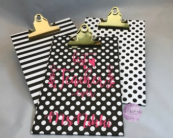 Monogrammed Clipboards/Teacher Appreciation Clipboard/Personalized Clipboard/Polka Dot Clipboard/Stripped Clipboard