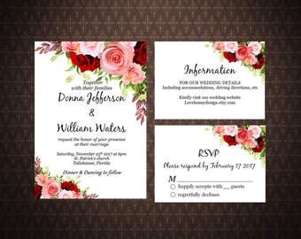 Marsala and Burgundy Wedding Invitation Set Printable, Bohemian Wedding, Printed Boho Chic Wedding Invitation Suite, code-051