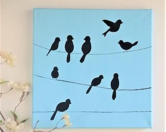 Birds on a Wire Painting, Bird silhouette Art, Blue Sky Original Acrylic Art, 12x12, light and dark blue on canvas