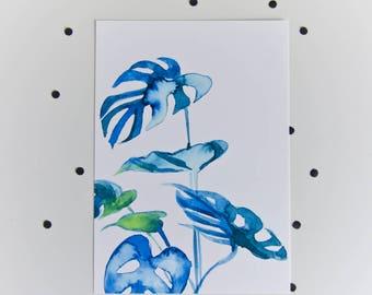 A5 monstera giclée art print - plant - watercolor painting - ink - botanical illustration