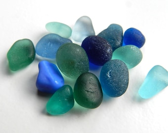 Small Blue and Teal Shades Sea Glass Pieces