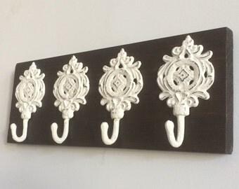Key Organizer, Key Hooks, Rustic Key Rack, Decorative Wall Hooks, Shabby Chic Key Hooks, Ornate Hooks, Key Organizer, Wall Decor