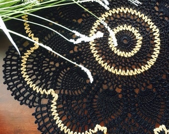 Black and Gold Doily - Lace Doily - Coffee Table Doily - Pineapple Crochet Doily - Handmade Doilies - Rustic Decor - Housewarming Gift