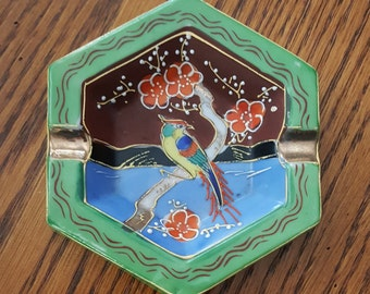 Satsuma Moriage Parrot Ashtray Hand Painted