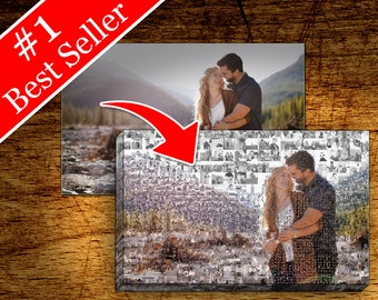 Custom Family Portrait Canvas - Photo Mosaic Collage Print - Wedding & Anniversary, Personalized Mosaic Portait, Gift