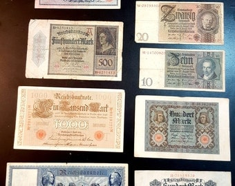 German antique. 9 Money papers. Mark . Printed ( 1908 – 1929)