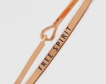 Free Spirit Bracelet, Free Spirit Mantra Bracelet, Rose Gold Free Spirit Bracelet, Thin Mantra Bracelet, Free Spirit Bangle