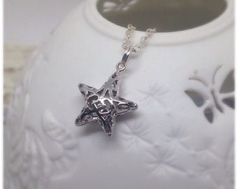 Silver Star Necklace, Silver Star Pendant, Star, Puffy Star, Silver Star, Bridesmaid Gifts, Stars, Friendship, Gift, Necklaces, Star Charm,