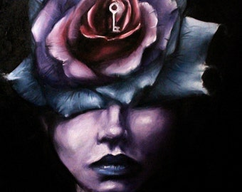 Woman with rose painting