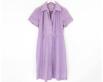 60s Cotton Day Dress Purple Gingham Dress Summer Picnic Plaid 1960s Collar Shirtdress Casual Housedress