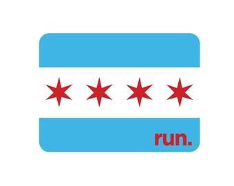 Run Chicago City Flag Magnet