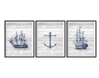 Set of 3 Nautical art prints, Printable art, Nautical decor, Old ship, Anchor, Vintage Nautical printables, Wall art prints