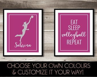 Volleyball Wall Art, Girlu0027s U0026 Boyu0027s Volleyball Bedroom Decor, Personalized  Volleyball Print, Volleyball