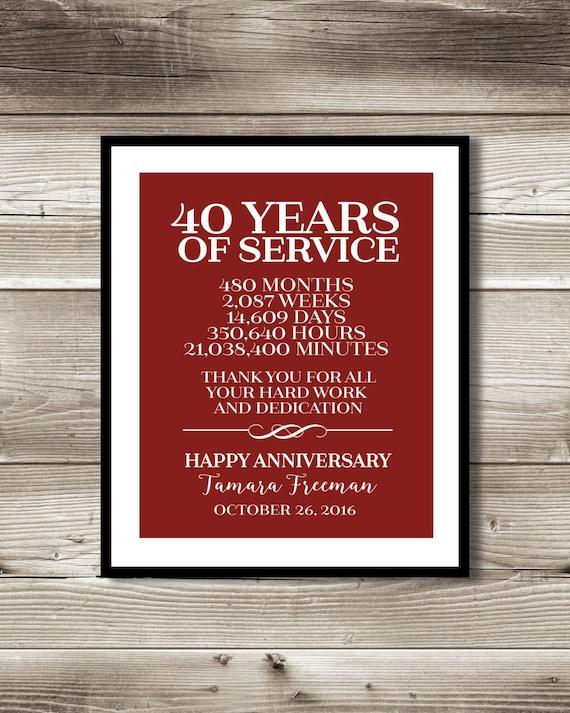 40 Year Work Anniversary Print Gift Digital Print