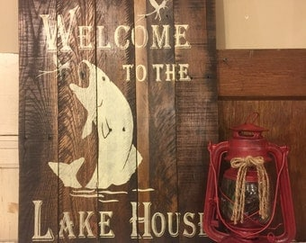 Welcome to the Lakehouse Rustic Wood Sign