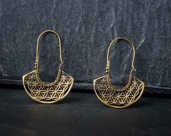 SALE -20% blume des Lebens Hoop Ohrringe, flower of life hoop earring, tribal earring