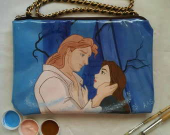Beauty and the beast inspired - Handpainted bag