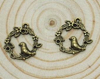 10pcs Antique bronze pigeon on flower ring Charm Pendants for Necklace / accessory DIY 20mm x 19mm (507-105)