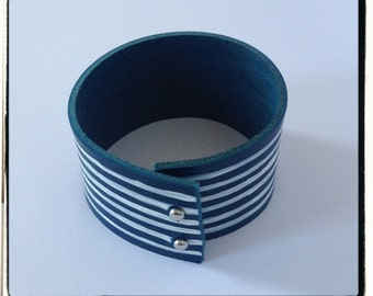 Navy blue and white stripes painted bracelet.