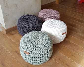 Lilac Pouf -Footstool-Nursery Decor-Floor Cushion-Kids Furniture-Bean Bag-Crochet Pouf-Pouffe-Kids Pouf-Nursery Pouf
