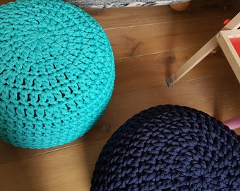 Navy dark blue Pouf, Furniture, Kids  Furniture, Bean Bag Chairs, Nursery Decor, Footstool, Crochet pouf, Ottoman