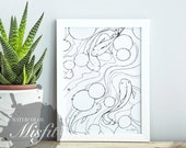Tranquil Koi Fish Pond - Printable Art or Coloring Sheet