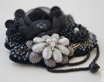 COUTURE EMBROIDERY, hand embroidery, hand-made,elegant brooch,black flowers,embroidered flowers,beautiful gift,black and white,haute couture