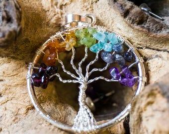 Rainbow Chakra Tree Of Life Crystal Pendant