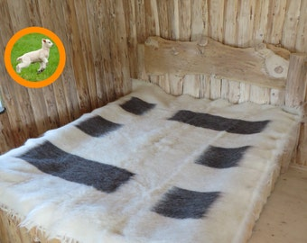 Bed Coverlet, Sofa Cover, White and Black Blanket, Throw Blanket, Wool  Rug, Boho Chic, Shaggy Rug, Woven Blanket, Wool Blanket,King Blanket